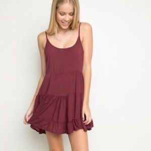 BRANDY MELVILLE Maroon Jada Swing Dress Fit Flare
